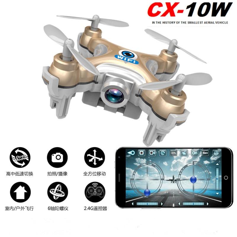 Cheerson CX-10W Mini WiFi Control Drones With High Pixel Camera Mini Quadcopter Children Kids Toys Christmas Birthday Gift cheerson cx 10wd mini wifi fpv rc quadcopter bnf gold