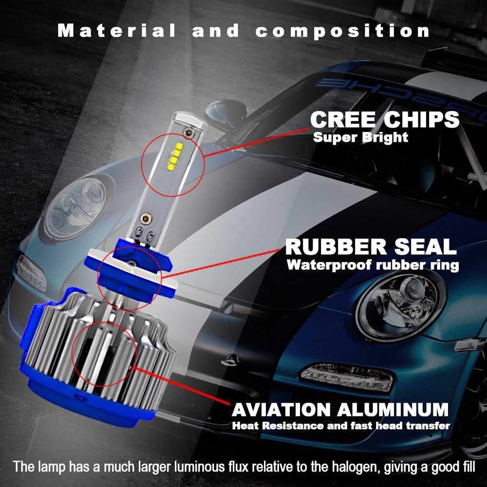 Car Headlight Bulbs H4 LED H7 H1 H3 H11 H13 H27 HB2 HB3 HB4 880 5202 9005 9006 70W 6000K 7000LM Super Bright Auto Light Lamp