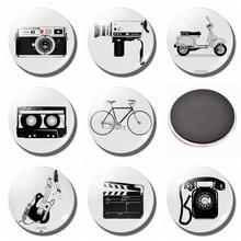 Retro Siyah ve Beyaz Fotoğraf Dolabı Magnet Seti 25mm Buzdolabı Mıknatıslar Cam Kamera Gitar Bisiklet Manyetik Çıkartmalar Ev De...