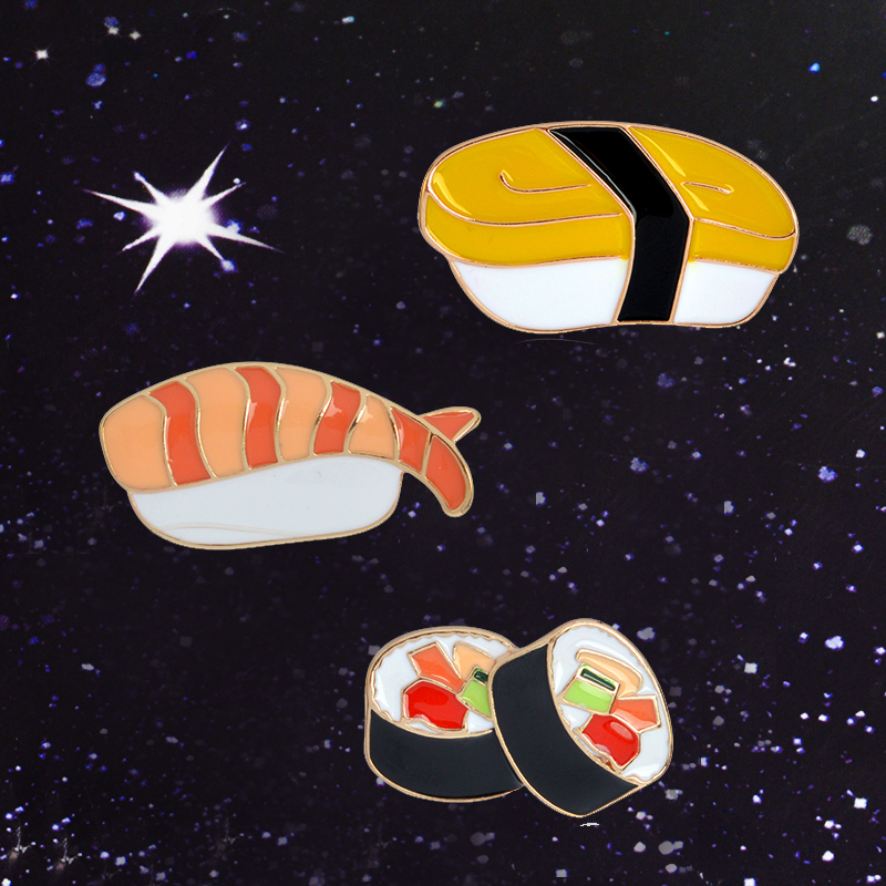 I Love Sushi ! Cute Kawaii Japanese food Gimbap Seaweed Sheet Salmon Nori Sushi Shrimp pin badges Cute enamel Brooches Pin Decor