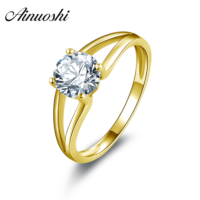 AINUOSHI 10k Solid Yellow Gold Wedding Rings Round Cut Solitaire Simulated Diamond Jewelry 1 ct Women Wedding Engagement Ring ainuoshi 10k solid yellow gold wedding ring 2 ct round cut simulated diamond anel de ouro female wedding rings for women gifts