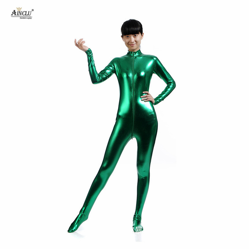 Ainclu Spandex Glue Bodysuit <font><b>Lycra</b></font> Shiny <font><b>Catsuit</b></font> <font><b>Sexy</b></font> Dark Green Zentai for Adults Outcrop Body Suit Costume Party and Hallween image
