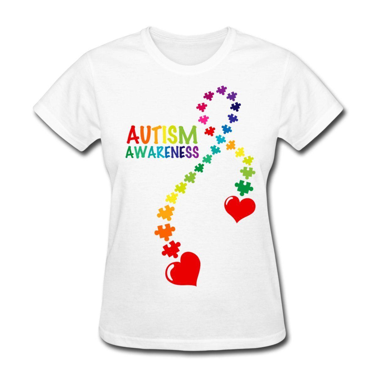 Shirt design buy - Hot Sell Women S Tees Summer Clothing Crew Neck Autism Awareness Ribbon Short Design T Shirts For
