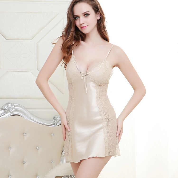 386b851c62 Sexy Lingerie Women Silk Satin Nightgown Plus Size Hollow Lace Halter Slip  Night Sleeping Dress Pink