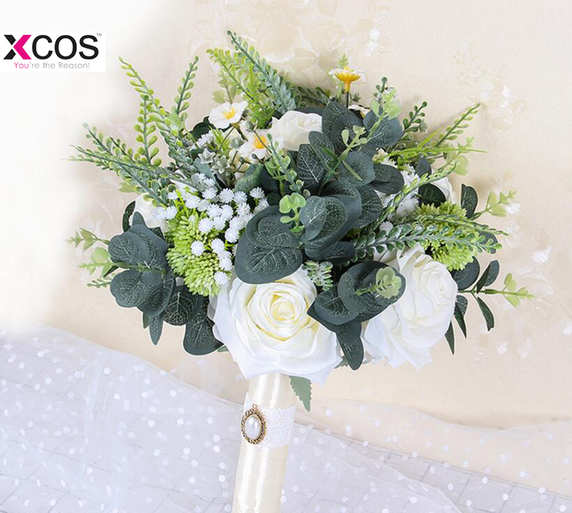 Boho Strand Bruiloft Bloemen Bruidsboeketten Ivoor Rose Bruid Bruidsmeisjes Boeket Flores Artificiales Bruiloft Decoratie