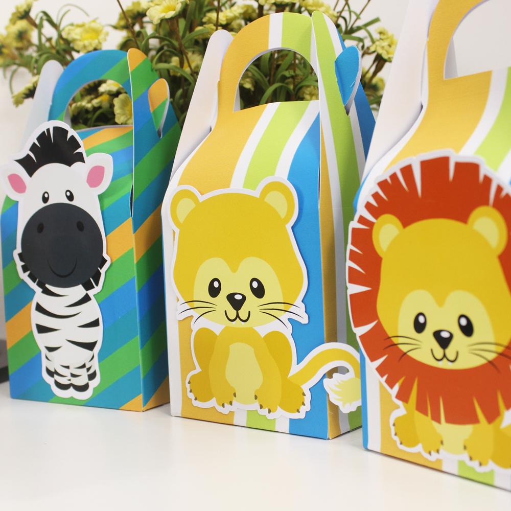 Safari Animals Favor Box Candy Box Gift Box Gift Bags Cupcake Box Wrapping Boy Kids Birthday Decoration Event Party Supplies in Gift Bags Wrapping Supplies from Home Garden