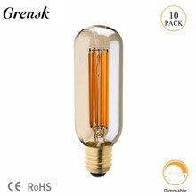 Grensk bombilla LED tinte dorado 6W T45 con forma de tubo Vintage lámpara LED bombilla de filamento largo muy cálidas 2200K E26 E27 lámparas Base regulable