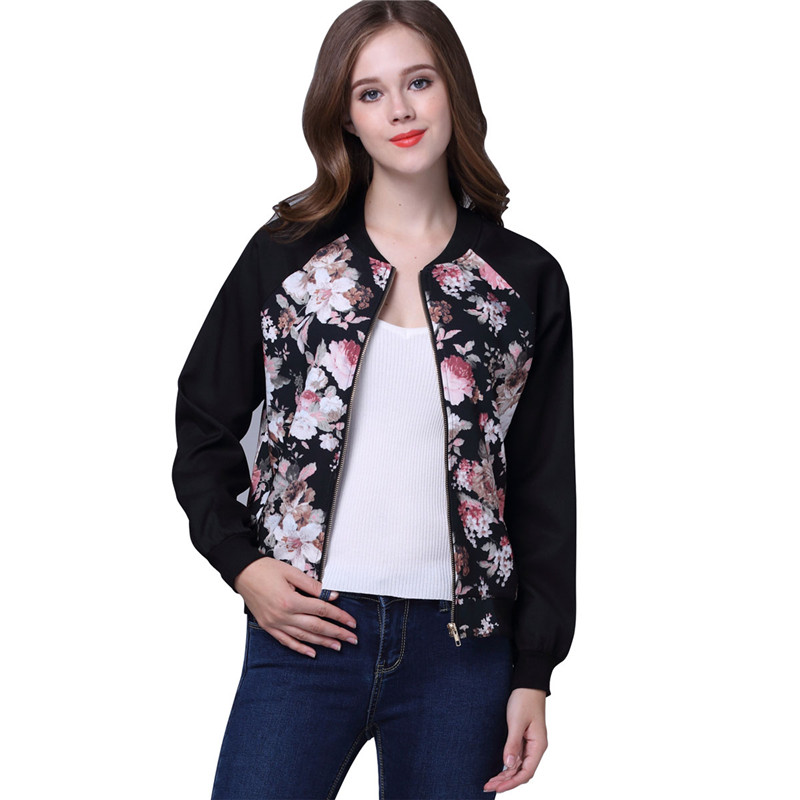 New 2017 Jacket Women Fashion Print Floral Slim Baseball Jacket Zipper Basic Outerwear Jackets Tops Autumn Coat Womens Mujer