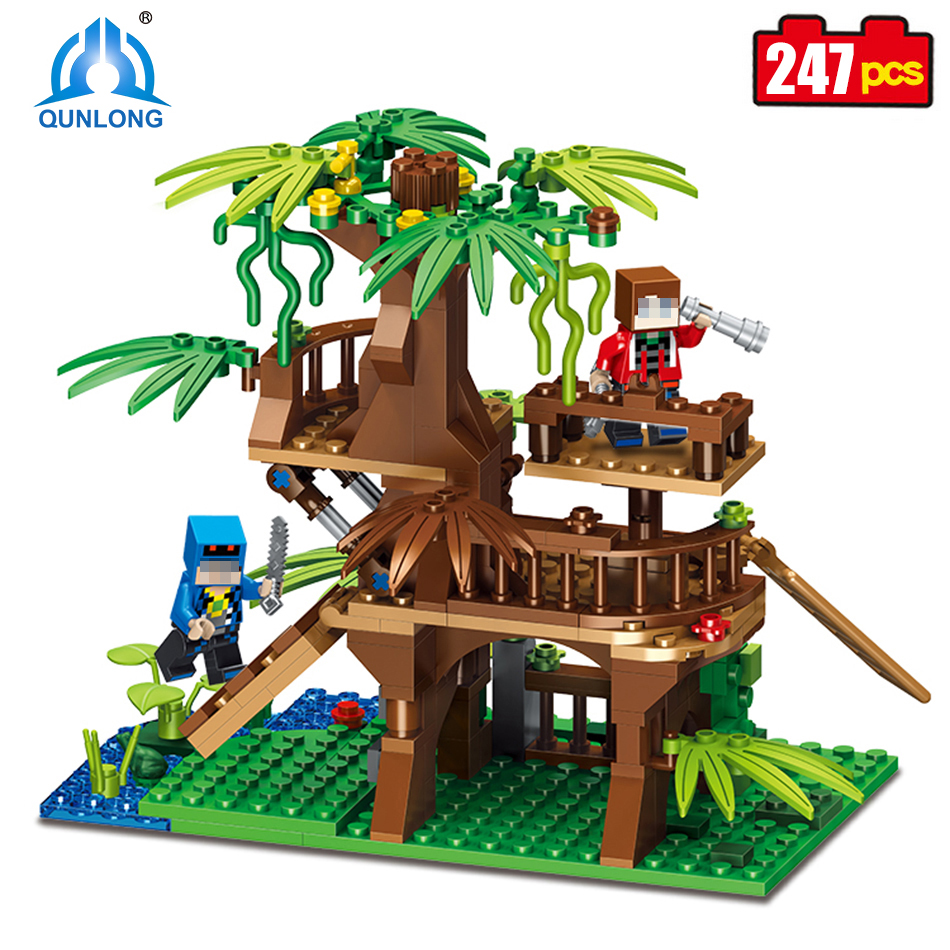 Qunlong 0529 My World Forest Brick Building Blocks Compatible Legos Minecraft City Toy Figures Enlighten Bricks For Kids Gifts new 4pcs set minecraft sword espada models figures my world building blocks model set figures compatible toys for kids