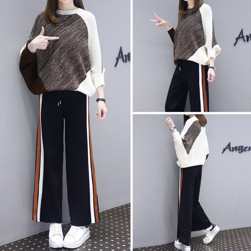 Ensembles, nouveaux costumes d'automne pour femmes, manches chauve-souris baggy à la mode pour femmes, pull, pantalon à jambes larges, deux pièces de costumes.