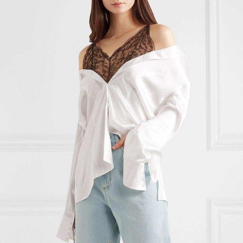 Faux Soie 2 pièce Blouse Femmes 2019 Sexy Dentelle Patchwork Satin Bottons Up Chemises À Manches Longues Blanc Noir Chemisier Femmes de hauts