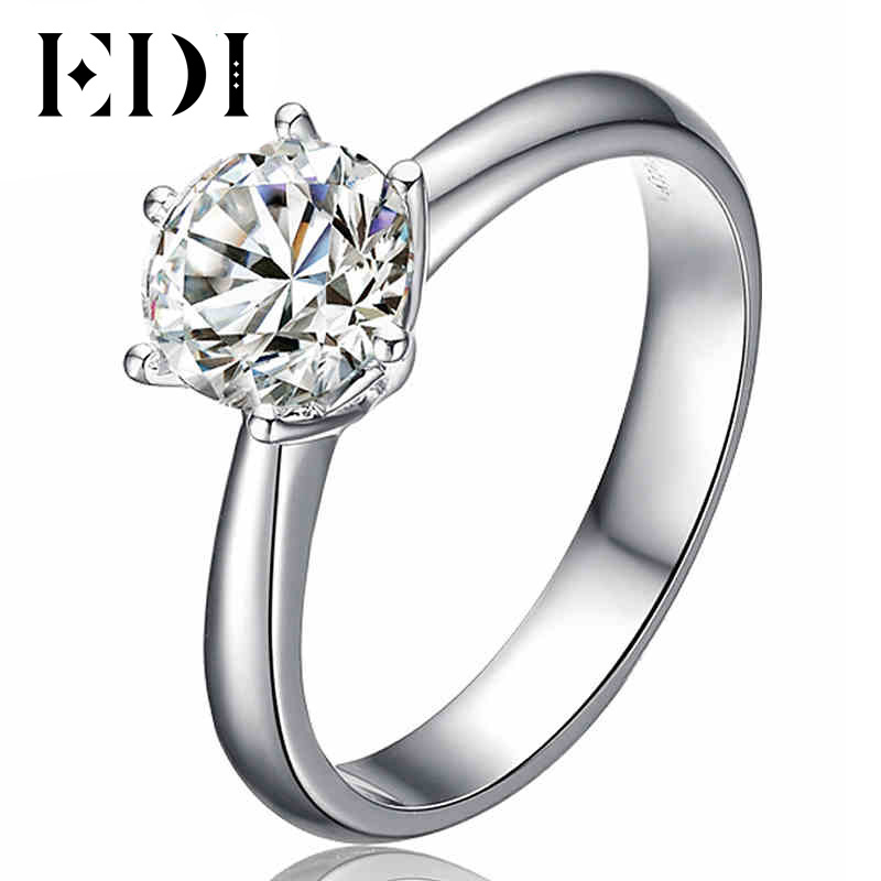 EDI Solitaire Moissanite Romantic Alice Ring 14k White Gold 1Ct Lab Grown Diamond Ring Wedding Engagement Ring For Women Jewelry transgems 1ct carat lab grown moissanite diamond jewelry wedding anniversary band solid white gold engagement ring for women