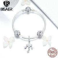 BISAER Charm Bracelets 925 Sterling Silver Clover Flower Women Bracelet Orchid Clover Bracelets Beads for Jewelry Making ECB812