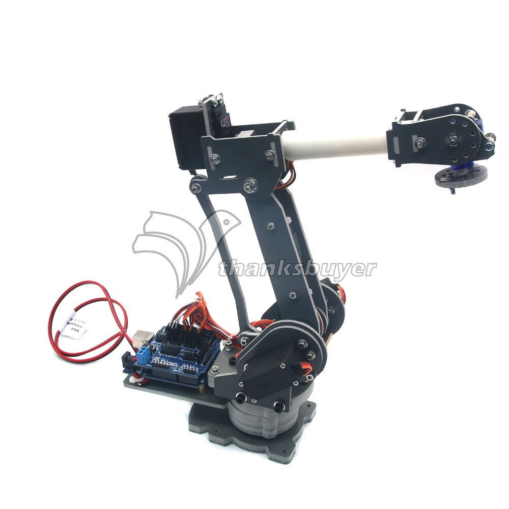 ABB 6DOF Robot Mechanical Arm Alloy Robotics Arm Rack with Servos Power Supply Arduino Board Kit abb 6dof robot mechanical arm alloy robotics arm rack with servos power supply for arduino board kit