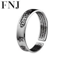 FNJ 925 loto plateado brazalete de flor Om Mani Padme Hum ajustable 55mm Original S999 brazaletes de plata de ley para la joyería de las mujeres