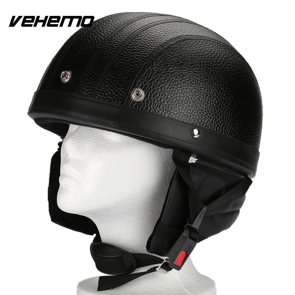 Vehemo Motorcycle Helmet Cycling Helmet Helmet Half Face Black German Style Vintage Safety Protective Gear Guard