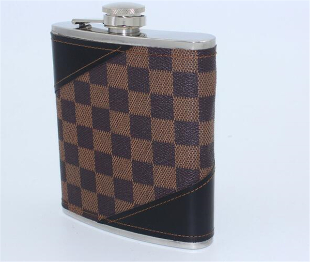 18oz(500ml) Stainless Steel Lattice Leather Hip Flask Flagon Whiskey Alcohol Bottle portable Carry travel flagon gift for men