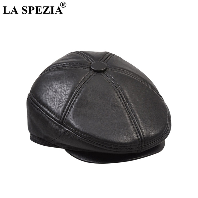 LA SPEZIA Real Leather Berets Man Black Casual Duckbill Hats Vintage Italian Luxury Genuine Leather Winter Warm Directors Caps