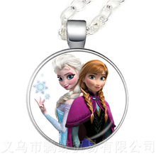 Princess ELSA Anna Silver Coated Glass Pendant Necklace Popular In Europe And America Sweaterchain Gift For Children Shipping(China)