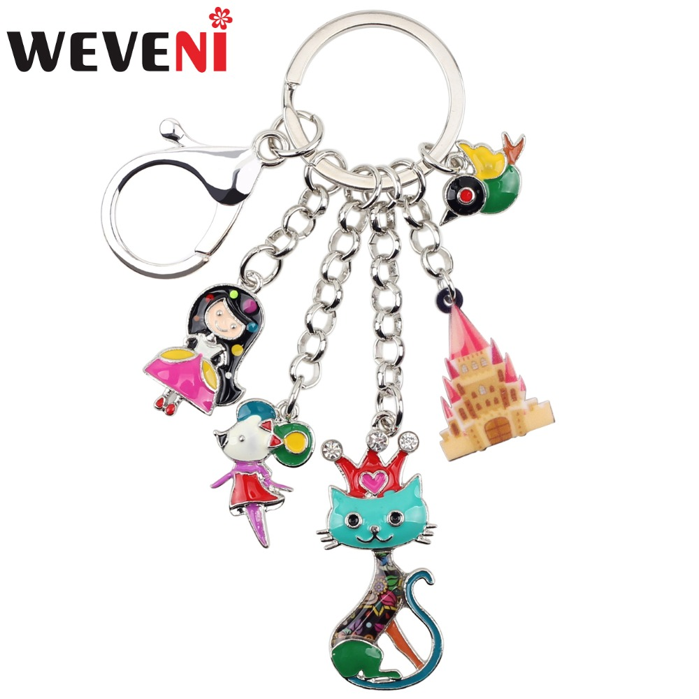 WEVENI  Enamel Alloy Child's Fairy Tale Princess Queen Cat Bird Mouse Castle Car Key Chains For Women Handbag Charms Keyrings