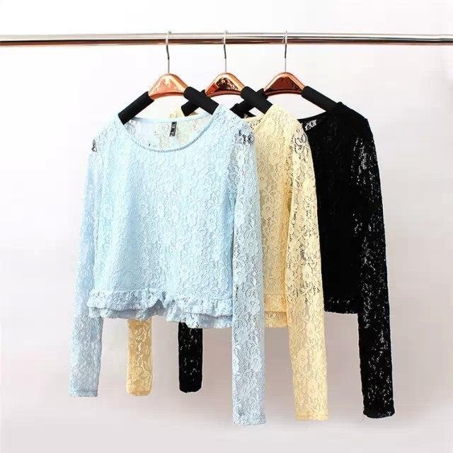 New Design Women Lace Blouse Flouncing Bottom Short Shirt Wild Slim Blouse Long Sleeve O-Neck Bottoming Tops Hot Sale HH004