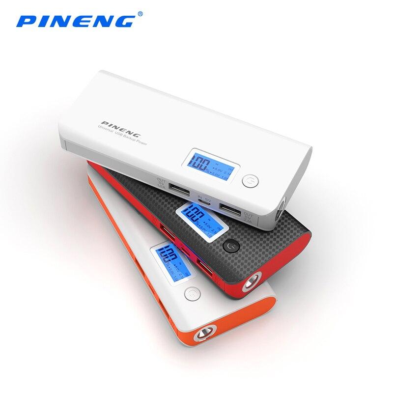 imágenes para Pineng banco de la energía 10000 mah 2 usb lcd display móvil batería externa powerbank cargador portátil para el teléfono inteligente