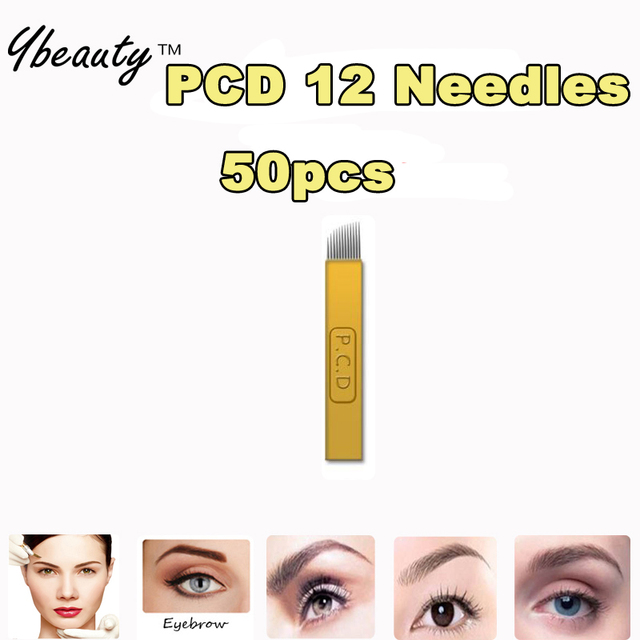 50pcs PCD 12 Needles Permanent Makeup Blades Manual Eyebrow Tattoo Bevel Blades 12 Needles For Tattoo Needles