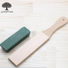 Passion Junetree Leather Strop with Wood Handle and Extra Fine Buffing Compound set