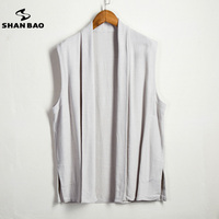 SHAN BAO Brand Men S High Quality Linen Vest Loose Jacket 2017 Autumn New Casual Style
