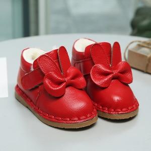 Image 2 - 本革のベビー綿の靴の冬冬女の子プラスベルベット幼児の靴子供のブーツソフト底