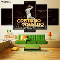 5 Pieces Canvas Printed Real Madrid Ronaldo Painting For Living Picture Wall Art HD Print Decor