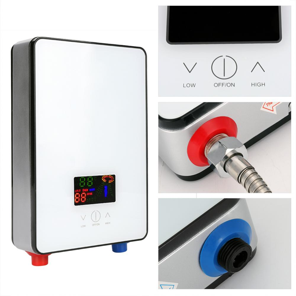 6500W Tankless Thermostat Instant Electric Hot Water Heater For Bathroom Shower dsk 65 high quality instant tankless water heater 6500w 220v thermostat induction heater smart touch electrical shower heaters