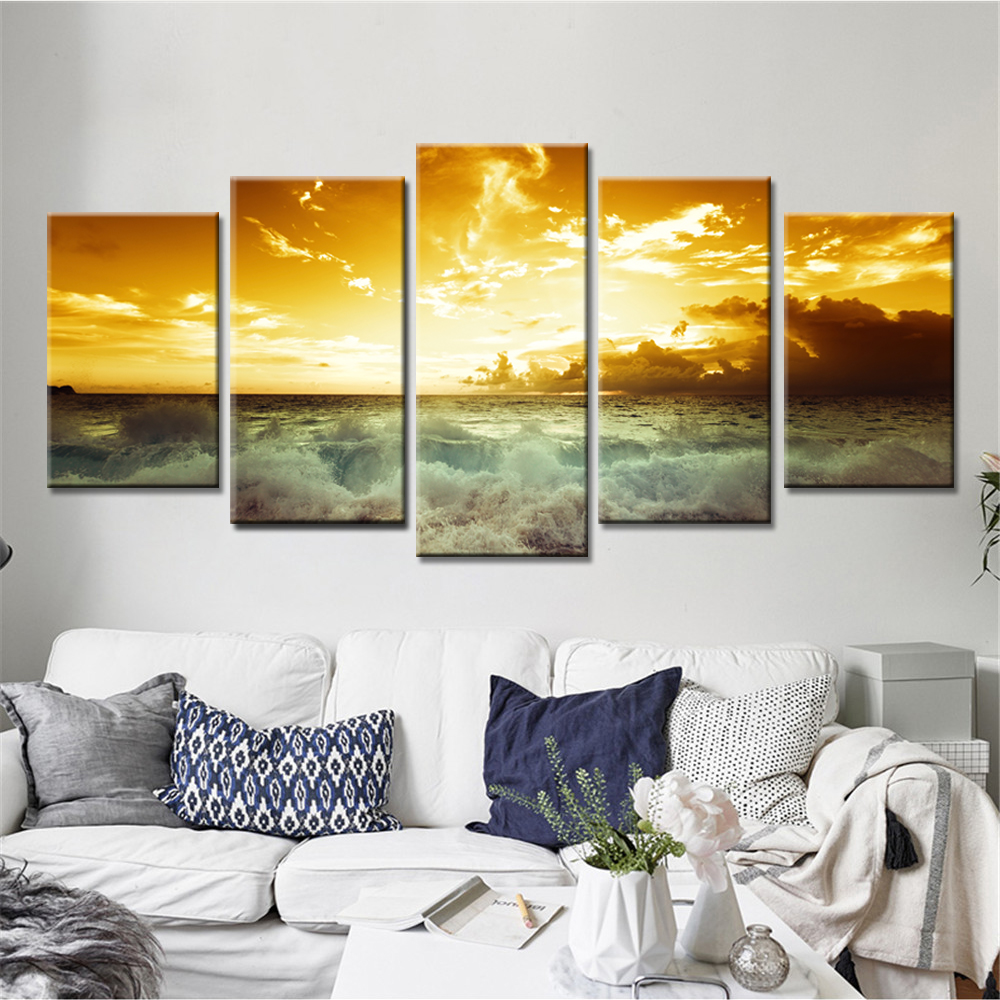 Nature Landscape Poster Sunset Wall Art Oil Painting Modular Canvas Pictures for Living Room 5 Pieces No Frame