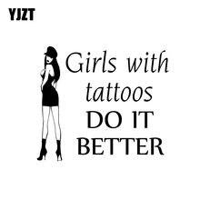 Yjzt 15.2*13.2cm meninas com tatuagens fazê-lo melhor decalques de vinil moda etiqueta do carro cobrindo o corpo preto/prata C20-0209