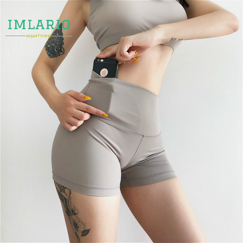 Imlario Power Flex Yoga Short Solid Tummy Control Workout Tights Women Slim Fit Running Athletic Short Leggings Hidden Pocket