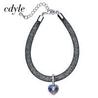 Cdyle Crystals From Swarovski Bangles Women Bangle Trendy Bracelets Women Bracelet Heart Shaped Blue Purple Fashion