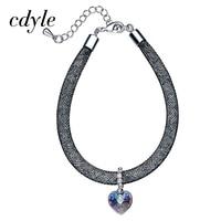Cdyle Crystals From Swarovski Bangles Women Bangle Trendy Bracelets Women Bracelet Heart Shaped Blue Purple Fashion