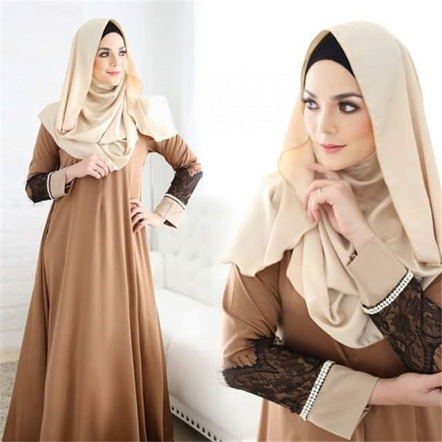Women fashion Abaya Jilbab Islamic Clothes Muslim Cocktail  Maxi Lace Dress Robe femme musulman  traditional arabic clothing