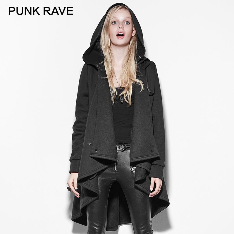 PUNK RAVE Gothic Black Personality Irregular Cloak Trench Coat Punk Rock Long Clothing with Hooded Women