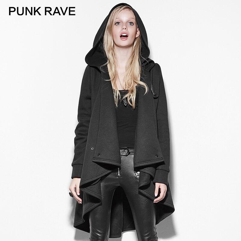 PUNK RAVE Gothic Black Personality Irregular Cloak   Trench   Coat Punk Rock Long Clothing with Hooded Women Raincoats Windbreakers
