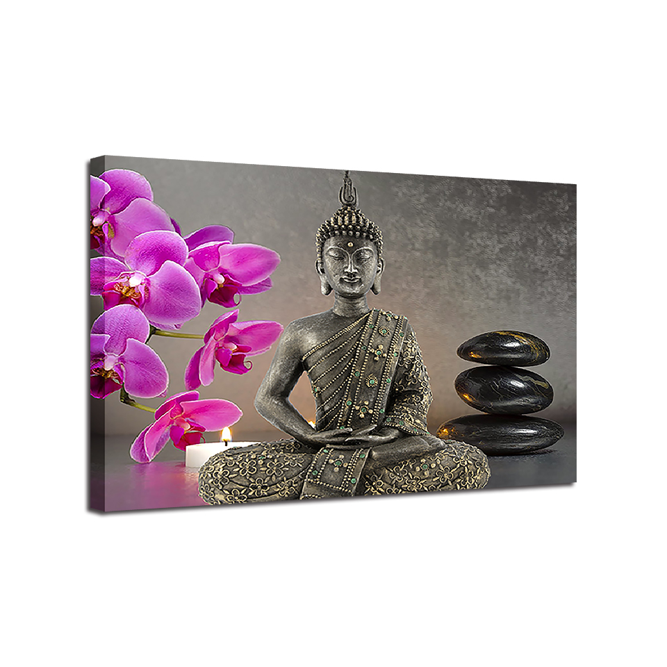 Modern High Quality Canvas Print Buddha Statue Orchid Candles Stones Wall Picture Home Decoration Artwork 1 Piece Style Painting in Painting Calligraphy from Home Garden