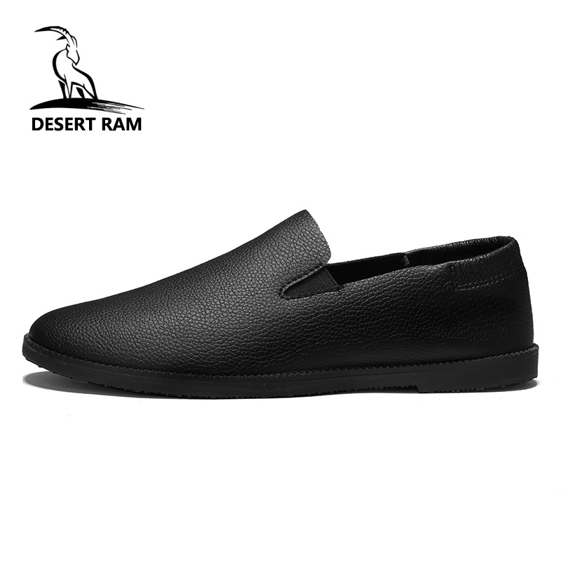 DESERT RAM Brand Fashion Shoes Men Casual Loafers Trending Leather High Top Black White Canvas Slip On Hot Sale Boat Mens Shoe