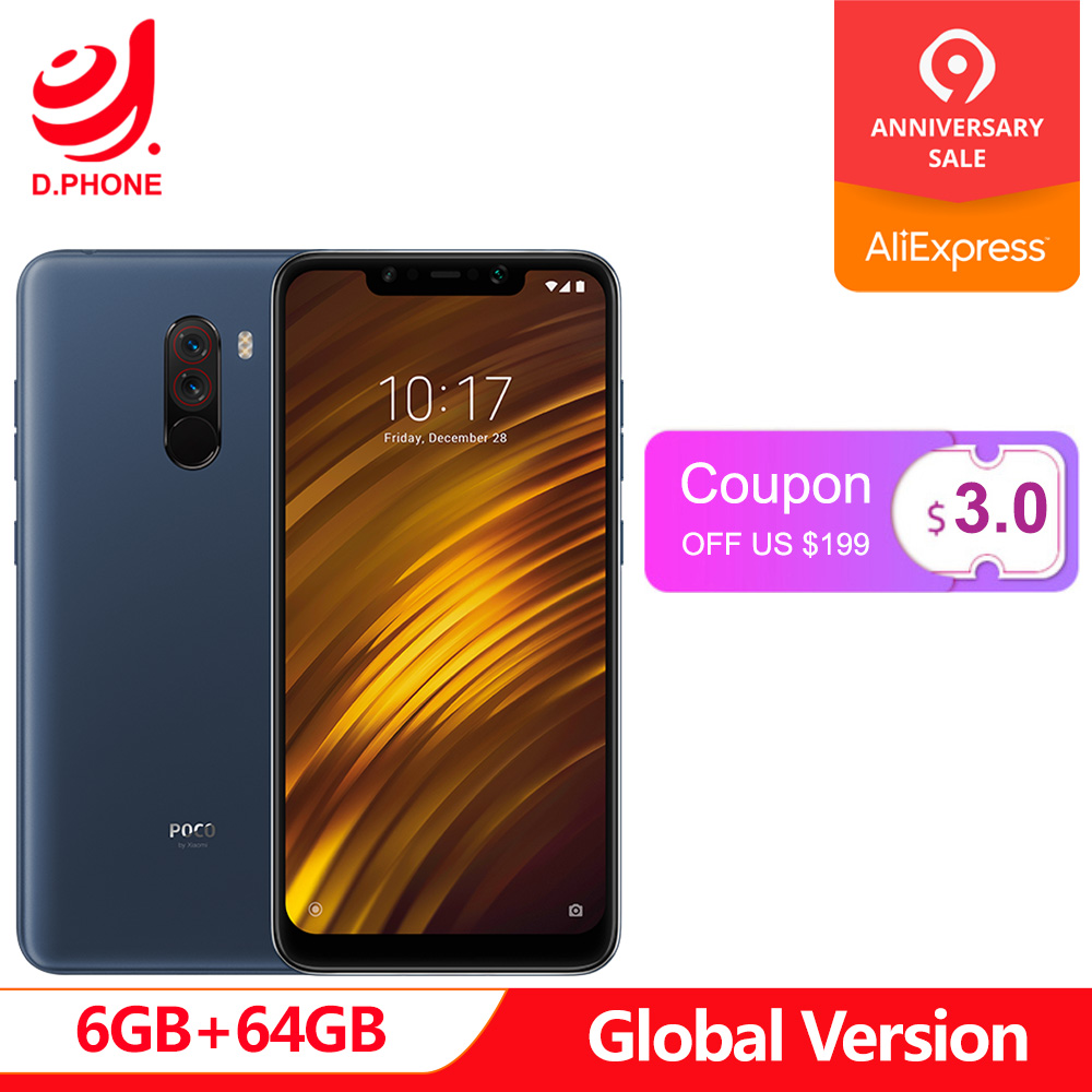 Global Version Xiaomi POCOPHONE F1 6GB RAM 64GB ROM LiquidCool Technology  Snapdragon 845 20MP front camera Quick Charge 3 0
