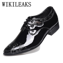 2017 Spring Fall Fashion Men Shoes Patent Leather Men Dress Shoes White Black Male designer luxury brand Wedding Oxford Shoes