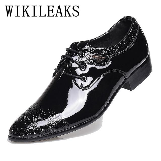 Marca Zapatos Hombre Blanco Otoño Negro Charol Lujo Primavera De 2018 Moda Vestido Hombres nxO4vZRCq