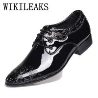 2019 Spring Fall Fashion Men Shoes Patent Leather Men Dress Shoes White Black Male designer luxury brand Wedding Oxford Shoes