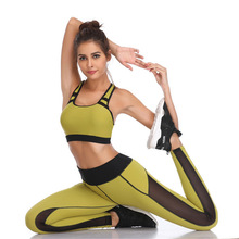 Women Tracksuit Solid Yoga Set Patchwork Running Fitness Jogging T-shirt Leggings Gym Sports Suit Sportswear Clothes S-XL