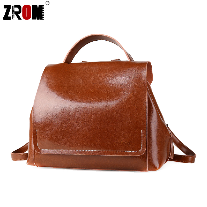 ZROM New arrival Genuine Leather Backpacks Women Korean Style Fashion teenager School Backpack For Girls Real