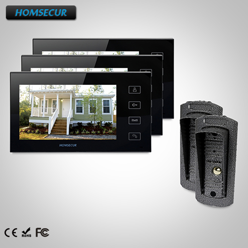 HOMSECUR 7 Wired Video&Audio Home Intercom+One Button Unlock for Apartment TC041 Camera + TM704-B Monitor