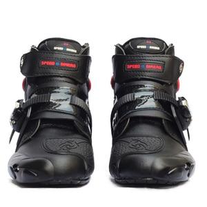 Image 1 - Moto rcycle kostki buty wyścigowe speed BIKERS skórzane wyścigi konna street obuwie na motor moto rbike Touring Chopper ochronny sprzęt buty